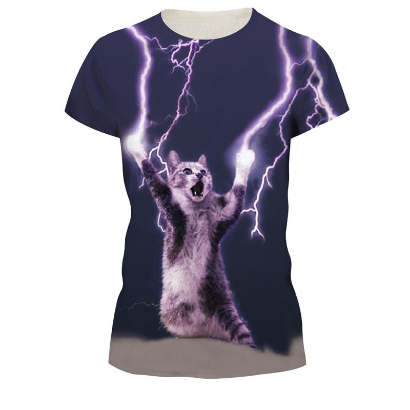 8e63b8b15 New Hot Harajuku 3d Tshirt Weird Lightning Cat Printed T shirt Casual  Women's T shirts Female Tees Summer Tops Punk Rock Style-in T-Shirts from  Women's ...