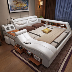 CBMMART de lujo Casa de cuero de vaca genuino cama de madera dura estructura Cama grande