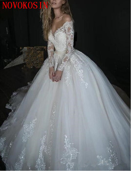 2019 Royal Train Lace Wedding Dresses Off The Shoulder Appliqued Bridal Gowns With Long Sleeves A Line Tulle vestido de novia purple off the shoulder bell sleeves mini dresses with belt