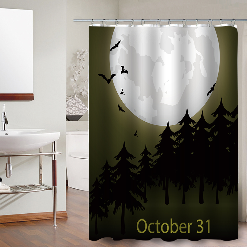Product Name FOKUSENT Halloween Shower Curtain Horror Night Of The Woods Cemetery Witch Bats Moon Polyester Fabric Curtains Size 150cm X 180cm