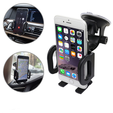 180 Rotate Double clip mobile phone Car Holder universal Car Windshield phone stand for iphone 7 plus 3.5-6.0 inch Car DVR GPS