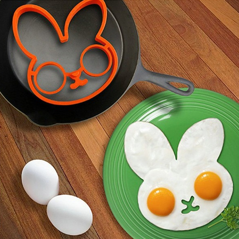 Kitchen,dining & Bar White Rabbit Thickersilica Gel Form For Frying Eggs Tools Breakfast Omelette Mold Device Pancake Ring Egg Shaped Kitchen Tool