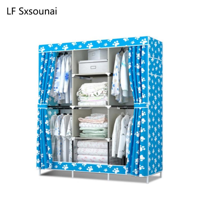 LF Sxsounai Big Oxford Cloth Wardrobe Closet Furniture Fabric Large Wardrobe Portable Folding Cloth Storage Cabinet Locker 2018