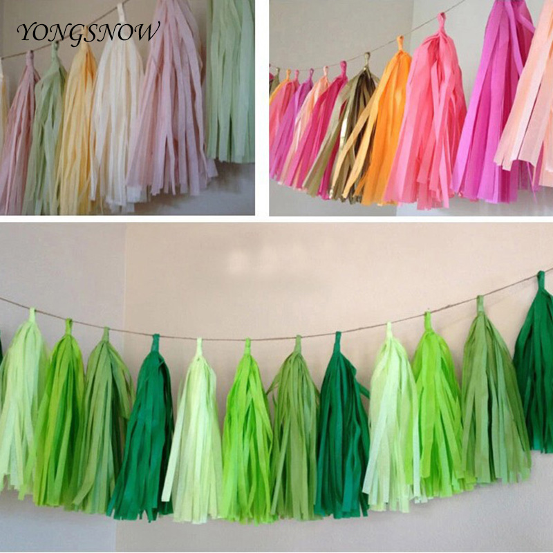 Wedding decoration 5pcs tissue paper tassels garland for Paper curtains diy