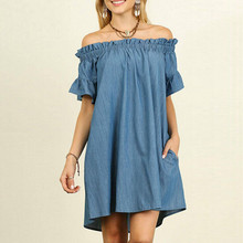 Jeans Dress Womens Off The Shoulder Denim Look Shirt Dress Tops Vestido Curto все цены