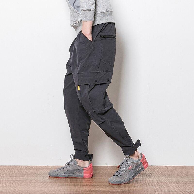 AreMoMuWha Summer casual pants, elastic pants, mens trousers, pockets, overalls, fat, extra yards, loose Haren pants ,QX028
