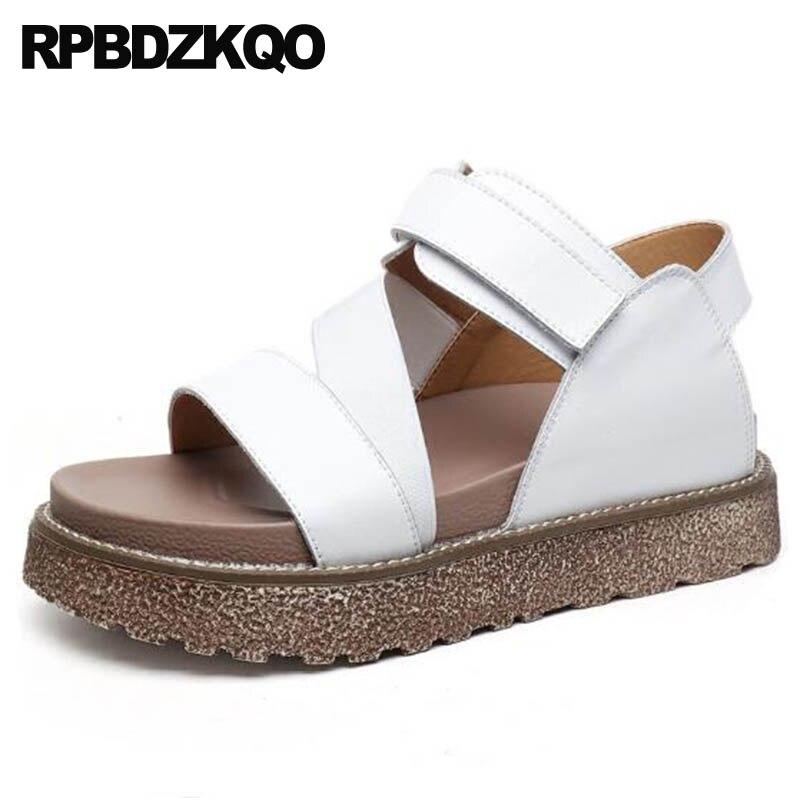 Ladies Flatform Sneakers Korean 2018 White Shoes Slingback Designer Comfortable Harajuku Open Toe Women Sandals Flat Casual