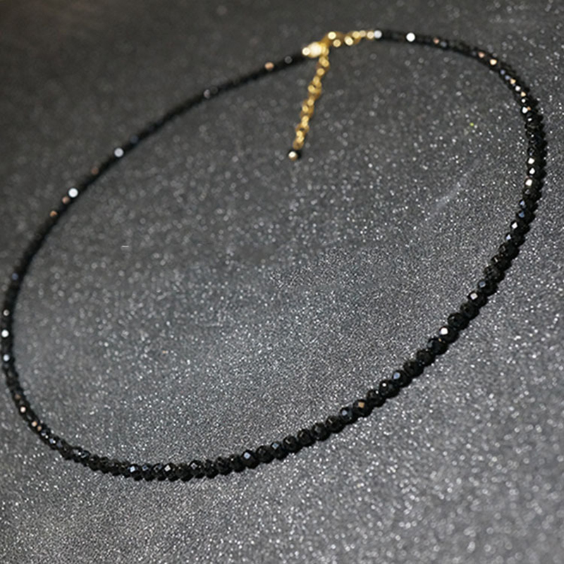 Women Gold Flower Short Fashion Wide Choker Necklace Black Stones Beaded Rocks