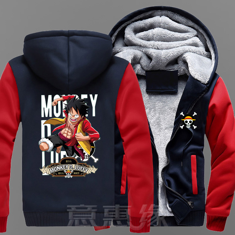 [STOCK]Anime One Piece Monkey D. Luffy Cosplay Costume Jackets Coats Long Winter Zipper Coat Hooded Hoodie M-5XL For Halloween F