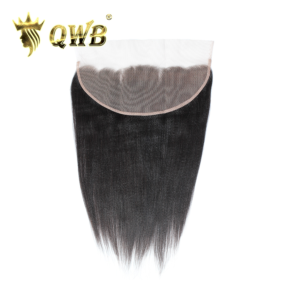 QWB Queen Weave Beauty Light Yaki 13''x4'' Free shipping 12''~18'' Brazilian Virgin Hair Nature Color Lace Frontal-in Closures from Hair Extensions & Wigs    1