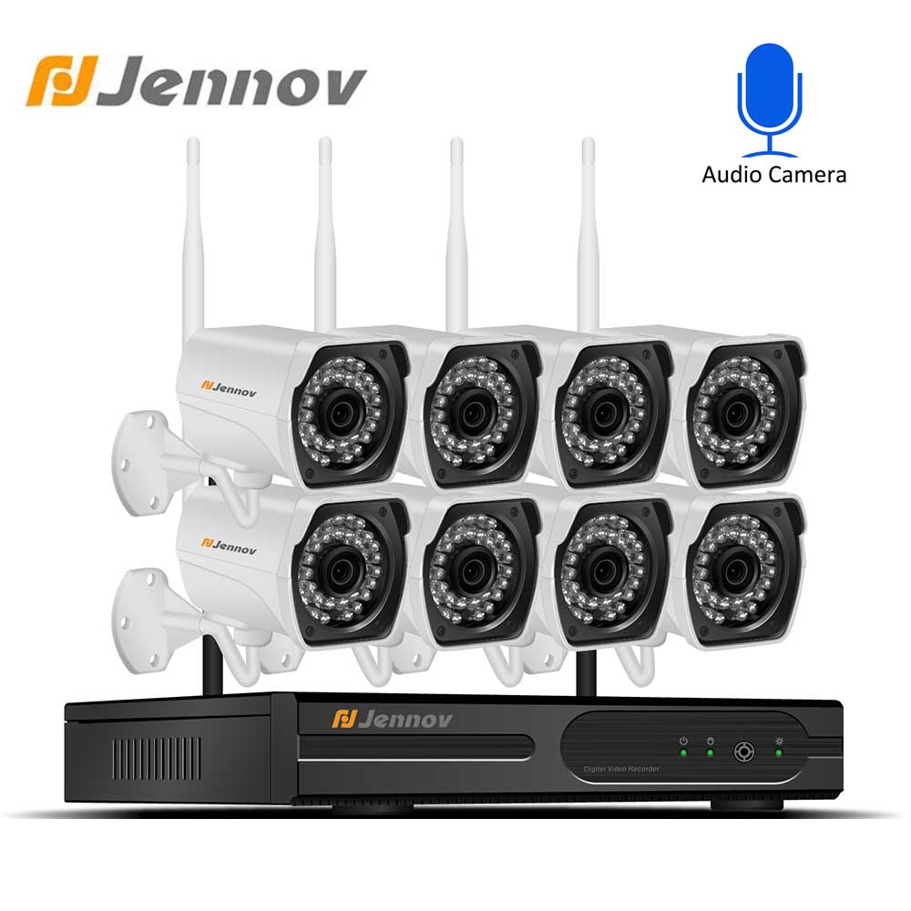 Jennov Wireless CCTV Camera 1080P Audio Record 2MP 4CH NVR Waterproof Outdoor WIFI Camera System Video Surveillance KitJennov Wireless CCTV Camera 1080P Audio Record 2MP 4CH NVR Waterproof Outdoor WIFI Camera System Video Surveillance Kit