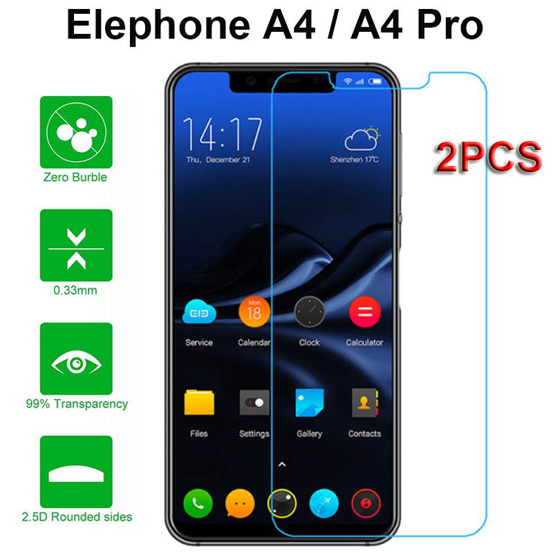 2PCS Ultra-thin Mobile Phone Film For Elephone A4 Screen Protector Protective Glass Protector For Elephone A4 Pro Tempered Glass