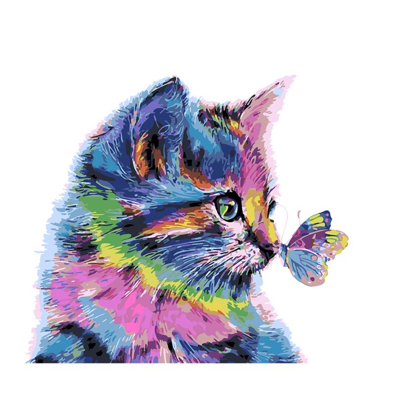 DIY colorful cat and butterfly pictures Painting By Numbers Wall Art Acrylic Canvas Painting For Home Decoration Drop Shipping