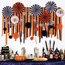 Halloween Party Decoration Set 28pcs Assorted Paper Fans Crepe Streamers Backdrop Spooky Honeycomb Eyeballs Balls Trick or Treat