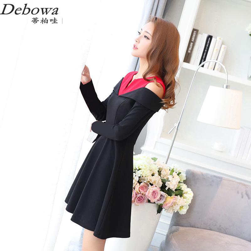 Debowa Patchwork Shoulder Work Dress Women 2017 New Spring Womens Dresses Long Sleeve V-neck Slim Princess Dress School Dress