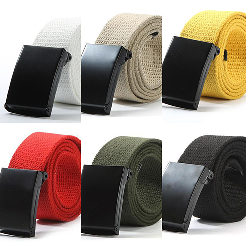 Unisex Military Casual Solid Color Plain Webbing Canvas Waist   Belt   Waistband