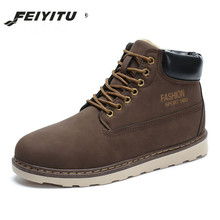 feiyitu  Men Boots Winter Faux Suede Ankle Snow 2018 Fashion Keep Warm Plush Casual Work Shoes Plus Size 39-44