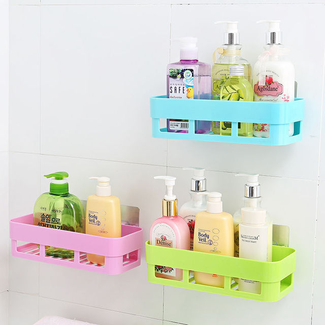 Self Adhesive Kitchen Storage Box Organizer Toilet Bathroom Storage Rack  Wall Shelf