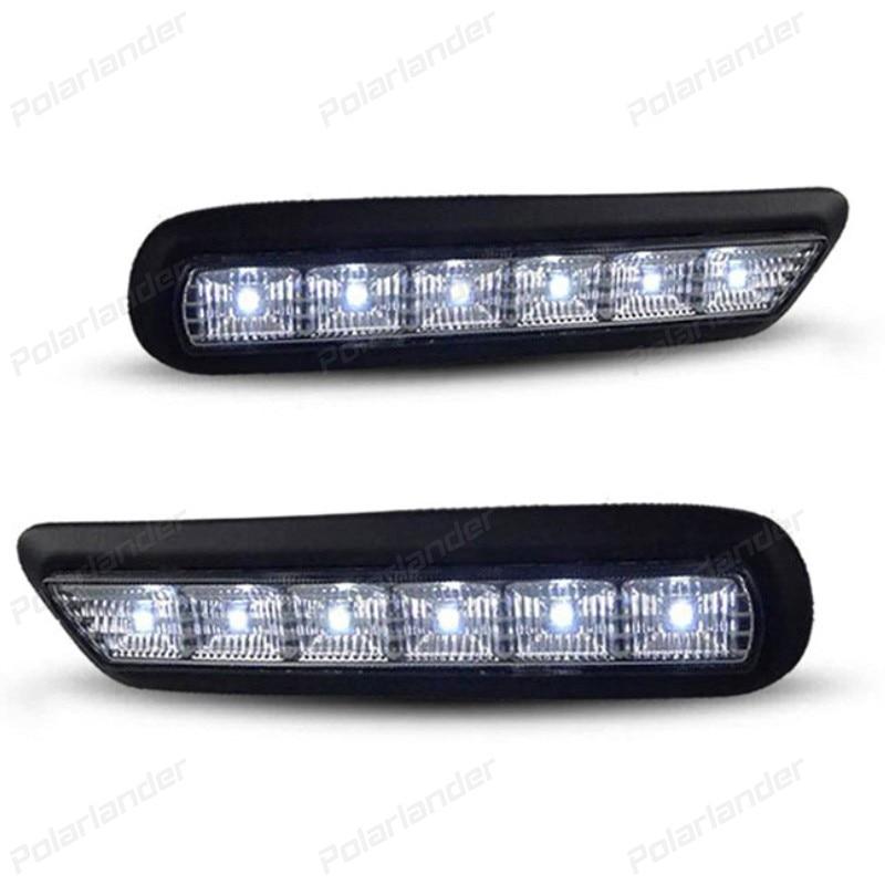 ФОТО 2 pcs 12V 6000k LED DRL Daytime running light for M/itsubishi A/XR 2010-2012 fog lamp frame Fog light ACCESSORY