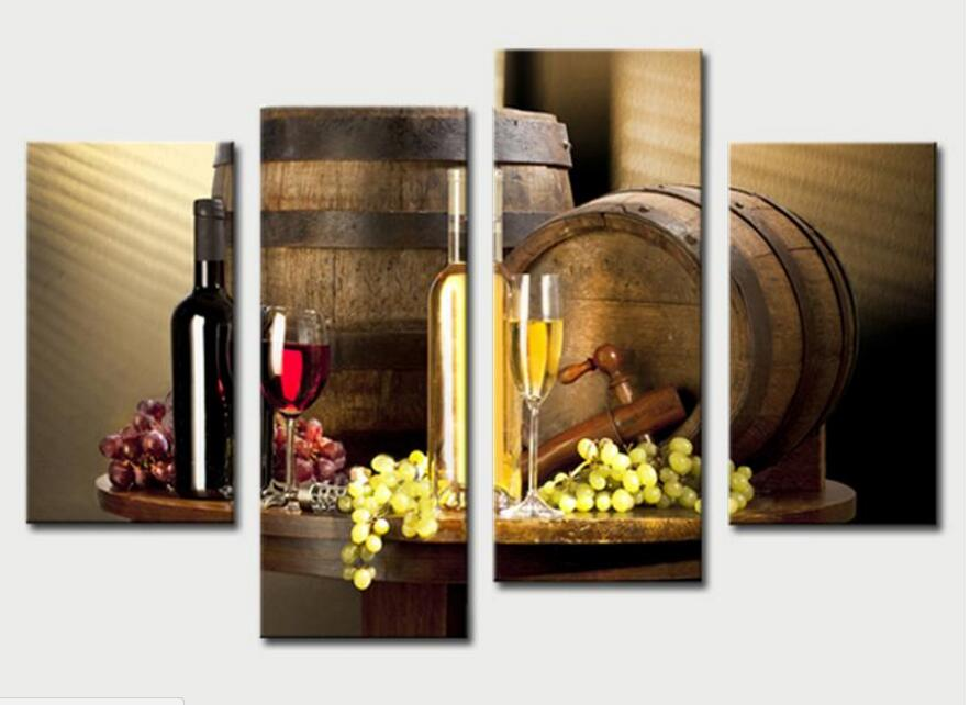 4 Piece Wall Art Painting Red Grapes Wine Barrel And