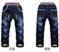 2015 зима детей брюки толщиной зима теплая кашемировые джинсы для мальчиков девушки два слоя ткани брюки размер 3 - 7 т