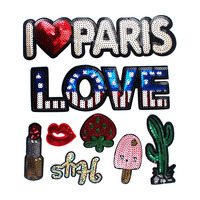 Fashion Big Size Mixed Letter LOVE Lipstick Cactus Motif Patch Sequined Cartoon Patches Iron On Clothes
