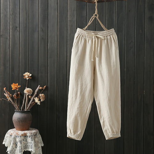 Cotton And Linen Harem   Pants   Women's Trousers Casual Pantalones Pantalon Femme Female   Pants     Capris   Calca Feminina