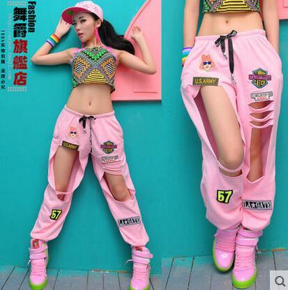 New Fashion Adulto Jovem's Calças desgaste desempenho Ds jazz trajes de dança Hip Hop hiphop crachá pó buraco casuais calças