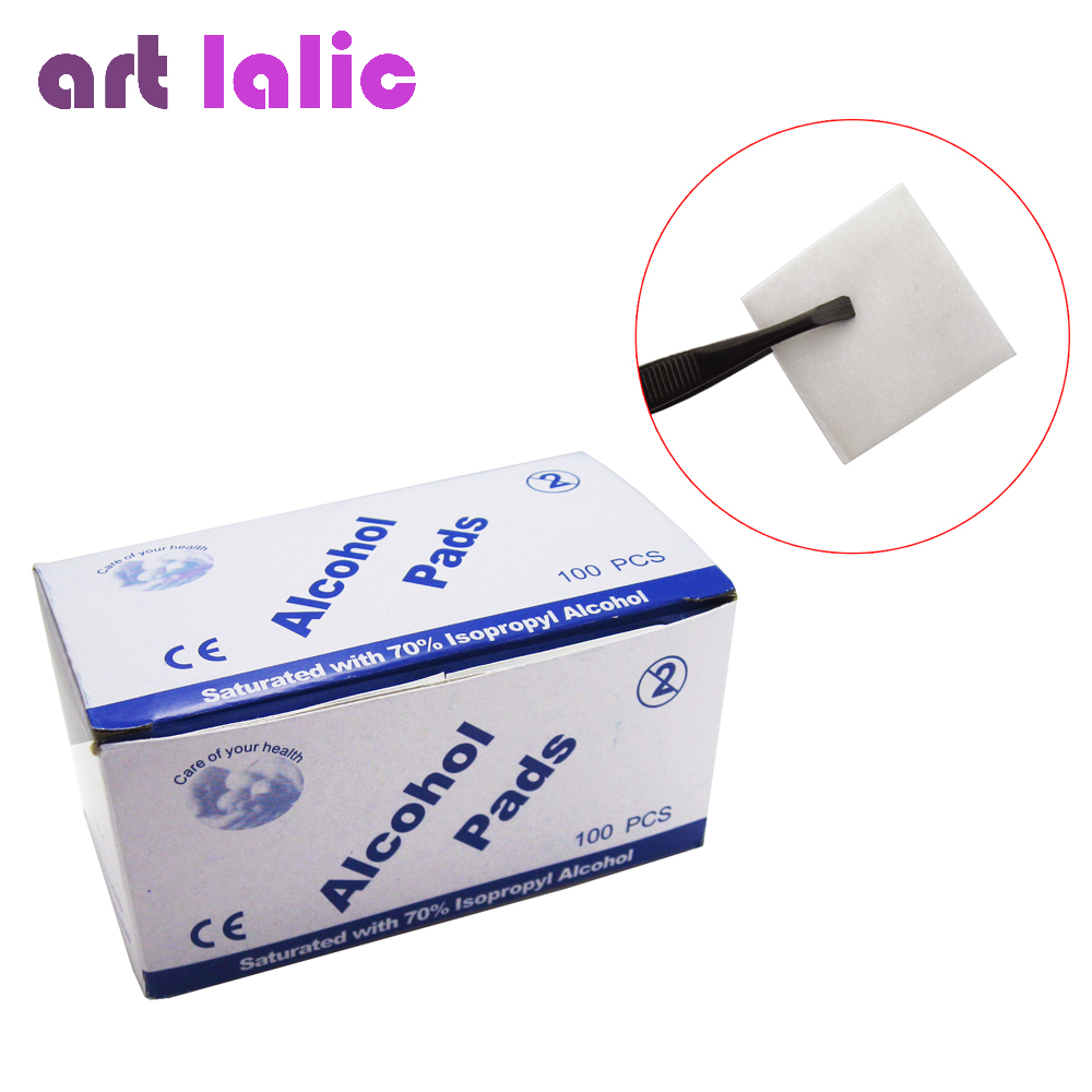 Artlalic 100 Pcs/ Box Alcohol Wipe Pad Nail Art Medical Swab Sachet Antibacterial Tool Cleanser Remover
