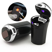 Car Ashtray Portable Cigar Cigarette Smokeless with USB Charge Cable Blue LED Light Indicator Universal Cup Holder
