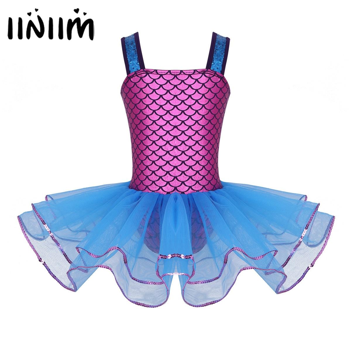 Filles adolescente sirène paillettes bretelles Ballet danse classe robe ballerine lyrique danse Costumes gymnastique justaucorps pour enfants robe