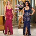 Free Shipping Sexy Lingery Lace Chemise Plus Size 5XL XXXL Queen Size Sleeveless Mesh Halter Hot Luxury Long Nightgown