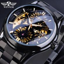 Winner Skeleton Watch 2019 New Sport Mechanical Gear Watches Montre Homme Black Steel Band Clock Mens Business Automatic Watches все цены