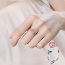 Everoyal Vintage Lady Crystal Pink Fish Rings For Women Accessories Fashion 925 Silver Finger Girls Bride Engagement Bijou