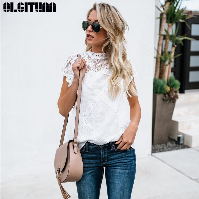 Women Cotton Lace Patchwork   Blouse   2019 Summer Short Sleeve O-Neck   Shirt   Blusas Female Casual Korea Style Ladies BS358