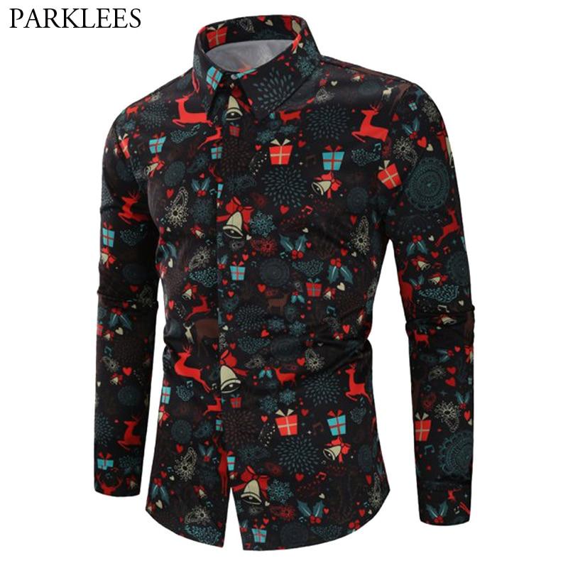 706b5950c0a Christmas Party Shirt Men 2018 3D Xmas Gift Print Black Mens Dress Shirts  Casual Long Sleeve