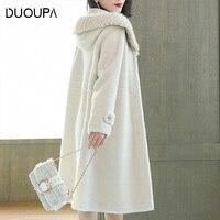DUOPA Winter warm women 100% wool sheepskin shearling coat real Mink fur hooded long outwear windbreaker casacos