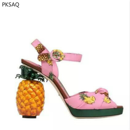 New Summer Ladies Pink Pineapple Sandals Fruit High Heels Women's Fashion Strange Style Model Show Sweet Party Shoes B hempz sweet pineapple