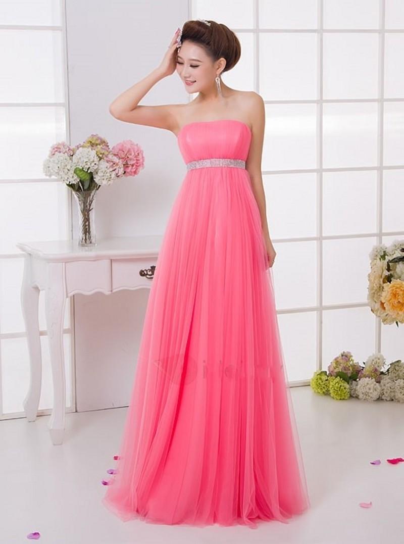 Encantadora Rosa Largo de Dama de honor Vestidos 2017 Una Línea Sin ...