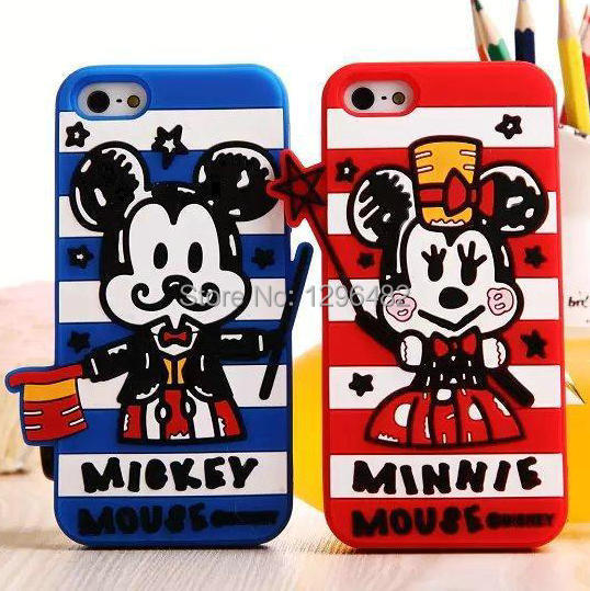 Full-dress Minnie Mickey Donald Duck Couples Cute 3D Soft Silicon Case Cover iPhone5 5G 5S - Shenzhen HuaQiang Group store