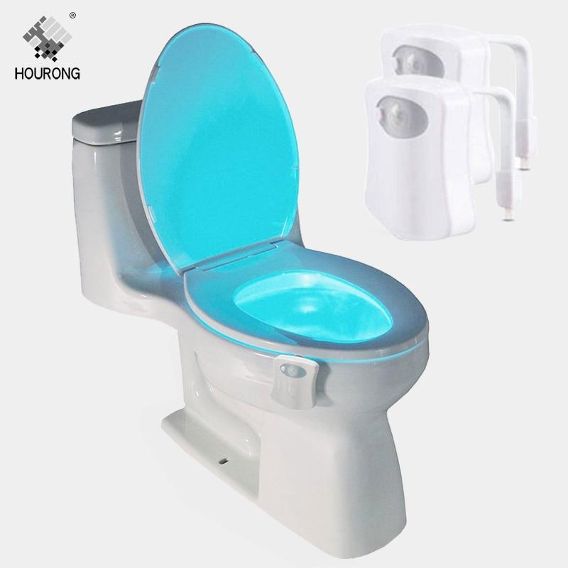 Assento Do vaso sanitário CONDUZIU a Luz Sensor de Movimento Humano Lâmpada Automático LEVOU Sensível Ao Movimento Ativado Luz Da Noite Wc Acessórios Do Banheiro