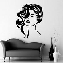 Modern woman hair Wall Stickers Fashion Sticker Decals Diy Home Decoration Accessories adesivo de parede
