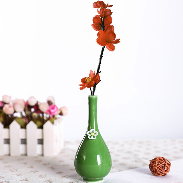 Jingdezhen Ceramic Mini Flora Bottle Flower Small Vase Green