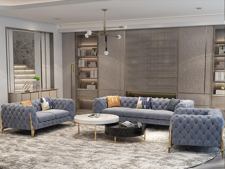 Velvet Hanf Linen Hemp Fabric Sectional Sofas  Living Room Sofa Set Multifunctional Alon Couch Puff Asiento Muebles De Sala Cana