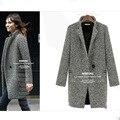 Mulheres Houndstooth Plaid Lapela Inverno Parka Quente Longo Trench Coat Outwear Jacket brasão runway elegante doudoune femme