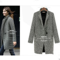Women Houndstooth Plaid Lapel Winter Warm Long Parka Trench Coat Outwear Jacket runway coat elegant doudoune femme