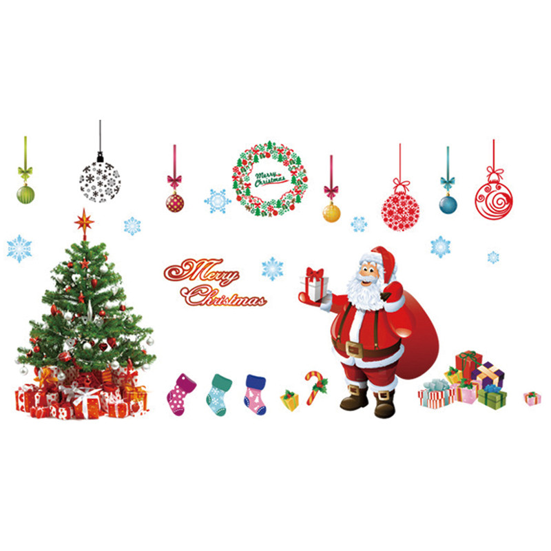 large santa christmas tree wall decals diy merry christmas wall stickers decorations for home shop window in wall stickers from home garden on