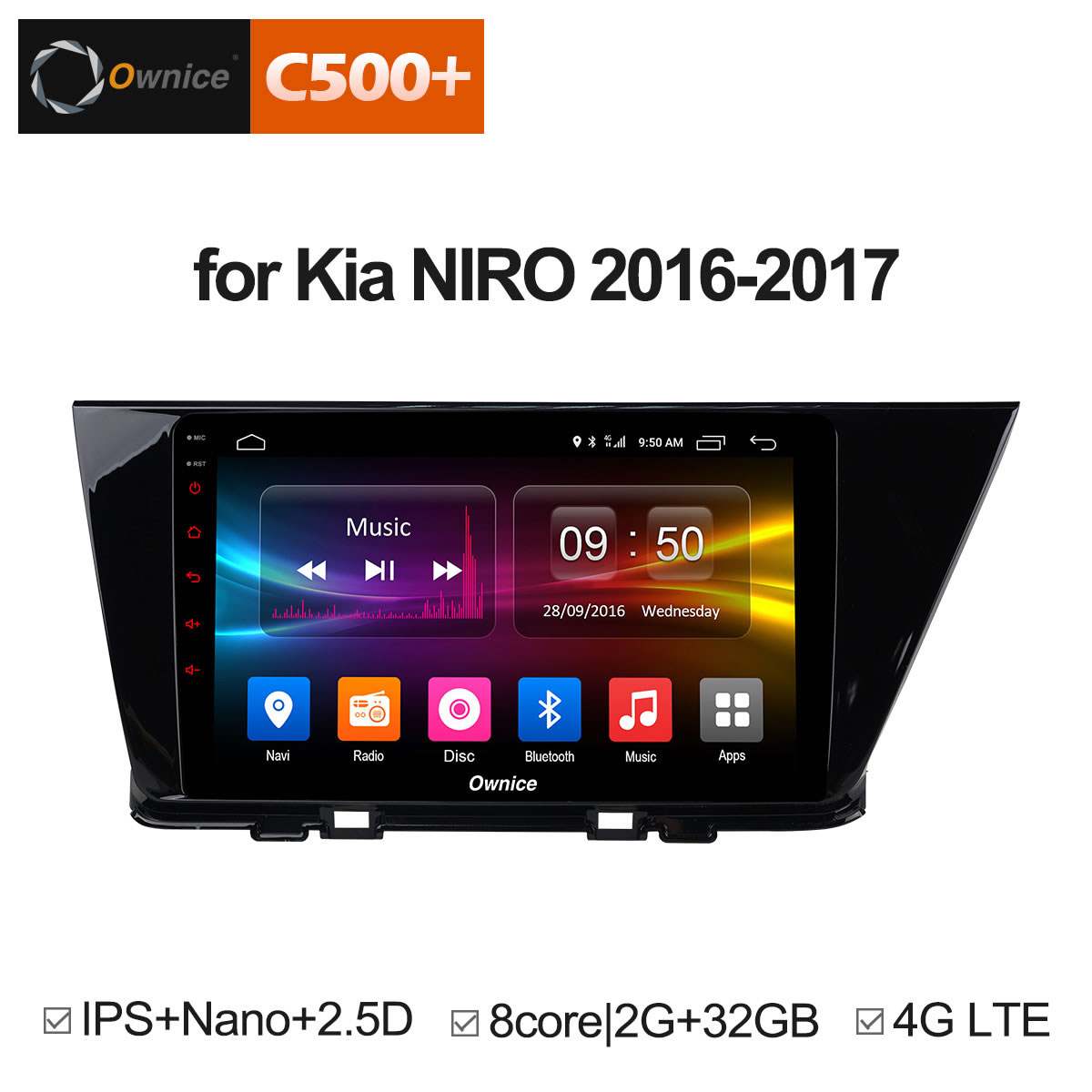 Ownice C500+ G10 Android 8.1 Octa 8 Core ROM 32G for KIA NIRO 2016 2017 Car DVD Player Navigation GPS Radio Support 4G LTE DVR ownice c500 g10 octa core 2gb ram 32g rom android car dvd 8 1 gps for mazda 6 summit 2009 2015 wifi 4g lte radio dab dvr