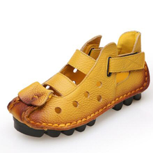 2018 Fashion New Womens Sandals Casual Leather Flats Shoes Summer Soft Size 40 41 42 aa0644