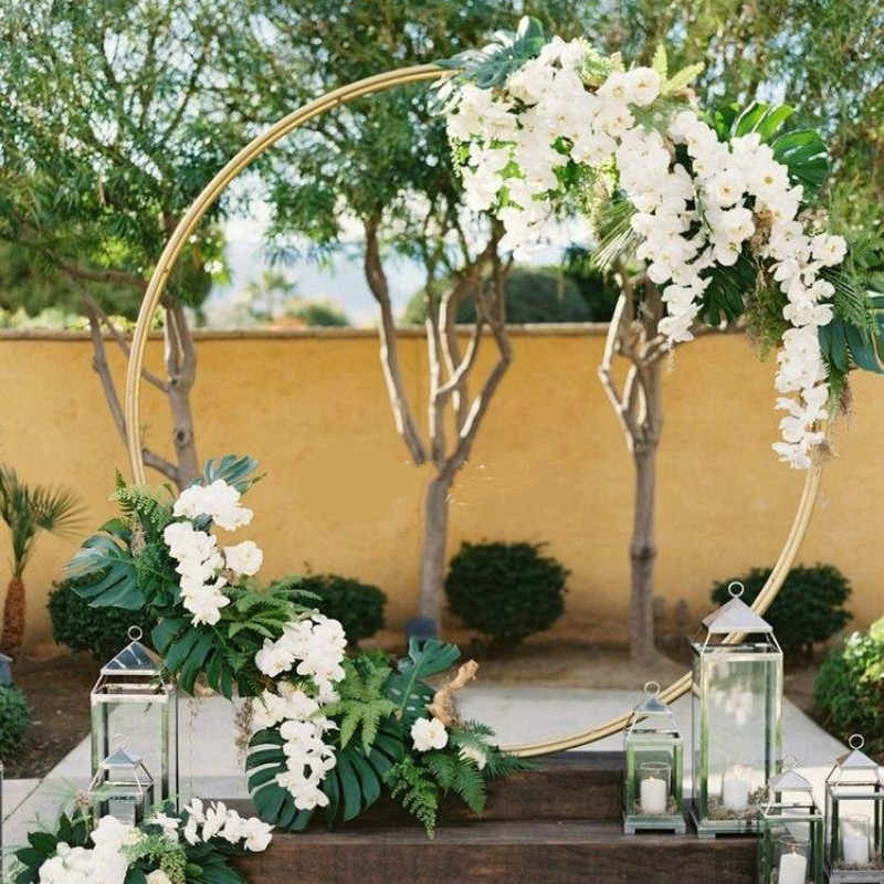 Flower Arch For Wedding: Circle Wedding Arch Background Wrought Iron Shelf
